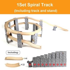 Image 2 - Vías de tren de madera de haya para niños, accesorios de túnel de puente de ferrocarril, piezas de tren de madera para Brio, juguetes educativos para niños, regalos