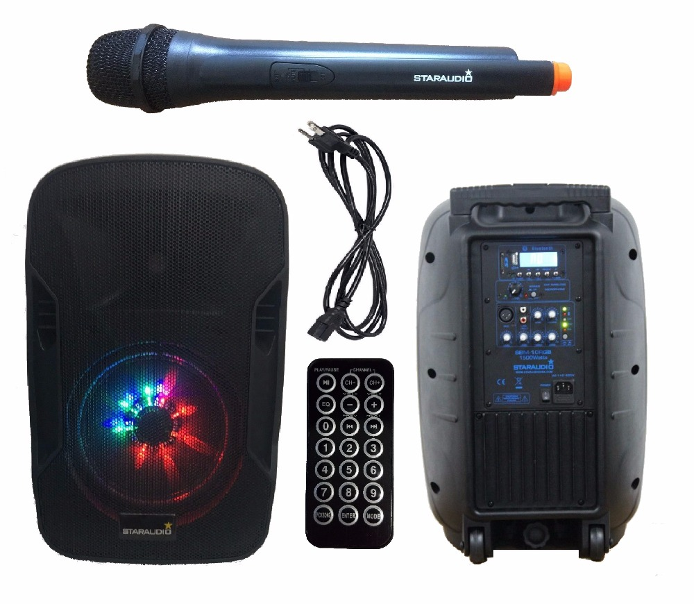 STARAUDIO 10 pollici 1500 W Pro Attivo PA DJ Ricarica Della Batteria LED RGB Illuminazione Bluetooth SD USB MP3 Speaker Con 1 Mic SBM-10RGB