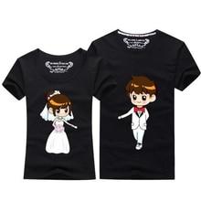 Summer Tops 2017 Kawaii Couple T Shirt For Wedding Men And Women O-neck Short Sleeve T-Shirt Cute Cartoon TShirt Couple Clothes