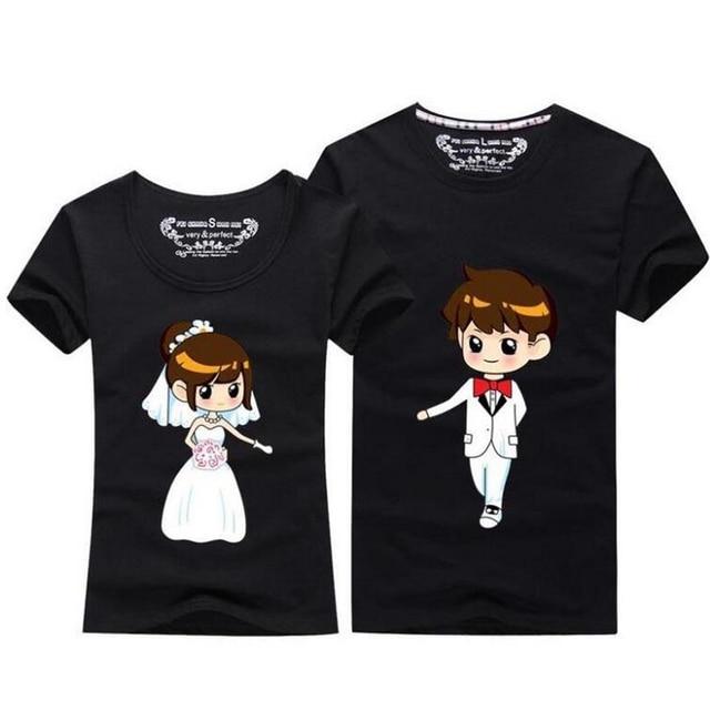78026e36b4d8e Summer Tops 2018 Kawaii Couple T Shirt For Wedding Men And Women O neck  Short Sleeve T Shirt Cute Cartoon TShirt Couple Clothes-in T-Shirts from ...