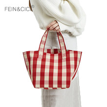 Canvas totes bag women beach large big plaid check shopping bag