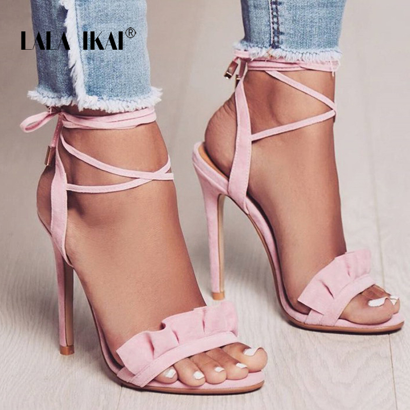 LALA IKAI Ruffle High Heels Sandals Women Cross Strappy Sandals Women Summer Shoes Woman Instagram Sandals Season 014C1100 -4