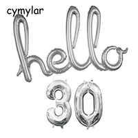 Hello 30 40 50 Balloon Silver Script Foil Balloon 32 inch 30 Numbers Balloon 30th Birthday Party Decor Globos Birthday Banner