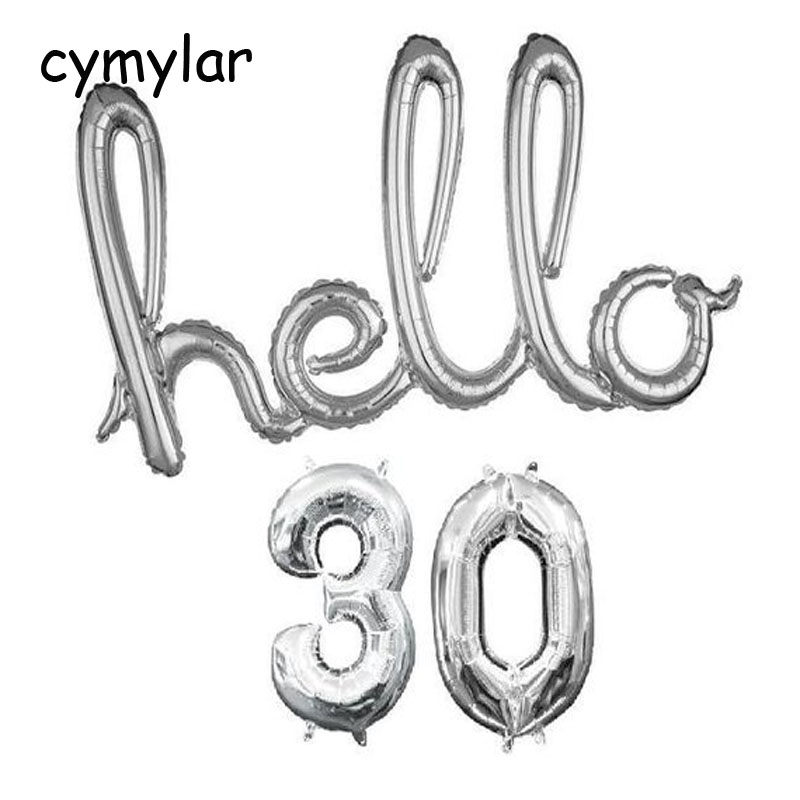 Hello <font><b>30</b></font> 40 50 Balloon Silver Script Foil Balloon 32 inch <font><b>30</b></font> Numbers Balloon 30th <font><b>Birthday</b></font> Party <font><b>Decor</b></font> Globos <font><b>Birthday</b></font> Banner image