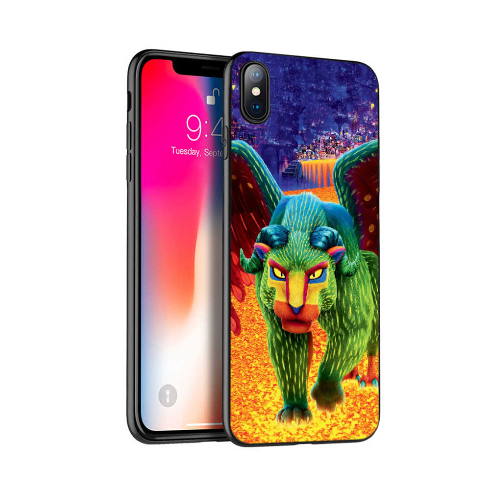 Caso di tpu nero per iphone 5 5s se 6 6s 7 8 più di x 10 caso della copertura del silicone per iphone XR XS caso di MAX coco messicano del cranio