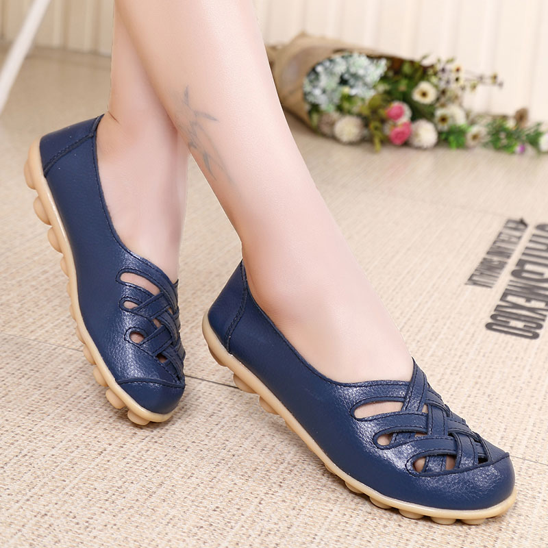 MWY Plus Size 35 44 Dress Shoes Woman Party Ladies Flats Plated Genuine Leather Female Shoes Slip On Spring Autumn Soft Shoes whensinger 2017 woman shoes female genuine leather flats slip on summer fashion design f927