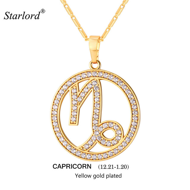 solid yellow necklace gold capricorn zodiac pendant cmf