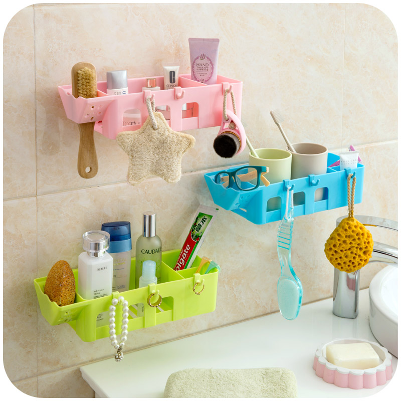 Hot sale Self-adhesive Plastic kitchen storage racks bathroom toilet cosmetics wall rack ,Free shipping.