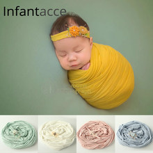 Newborn Photography Props wrap+headband cotton prop filler Baby Swaddle stroller blanket Baby Photo Props knit Wraps Hammock(China)