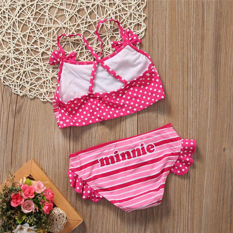 c1fcd4d3ee0f3 ... Minnie Mouse Baby Children Girls Swimwear Bikini Cute Cartoon Bathing  Suit Summer Beach Wear Swimsuit 2 ...