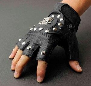 Image 2 - Męska prawdziwa skórzana czaszka punk rocker jazdy motocyklowe rękawiczki bez palców