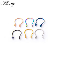 New 1PC Steel 20G Dainty Faux Nose Rings Fake Septum Rings Hoop Nostril Piercing Fake Clip on Nose Rings Oreja Piercings Jewelry(China)