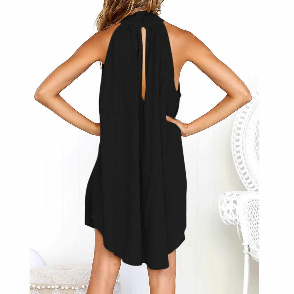 ホリデーレディース不規則な女性の夏のビーチノースリーブパーティーミニドレススーパー品質ローブファム女性服 #68