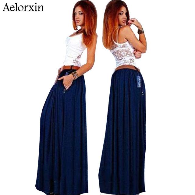 Saias longas femininos vestidos verão novo estilo mulheres casuais sólida plus Size Saia festa sexy prom moda saias longas quente venda