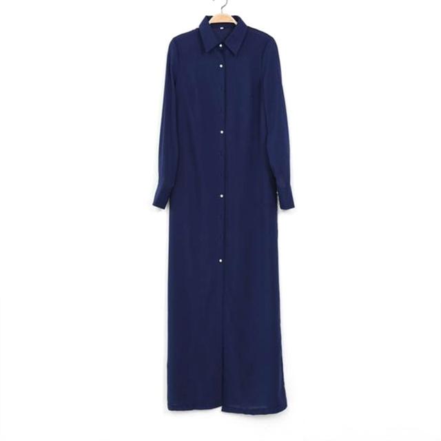 Elegant V-Neck Long Sleeve Split Button Boho Maxi Dress