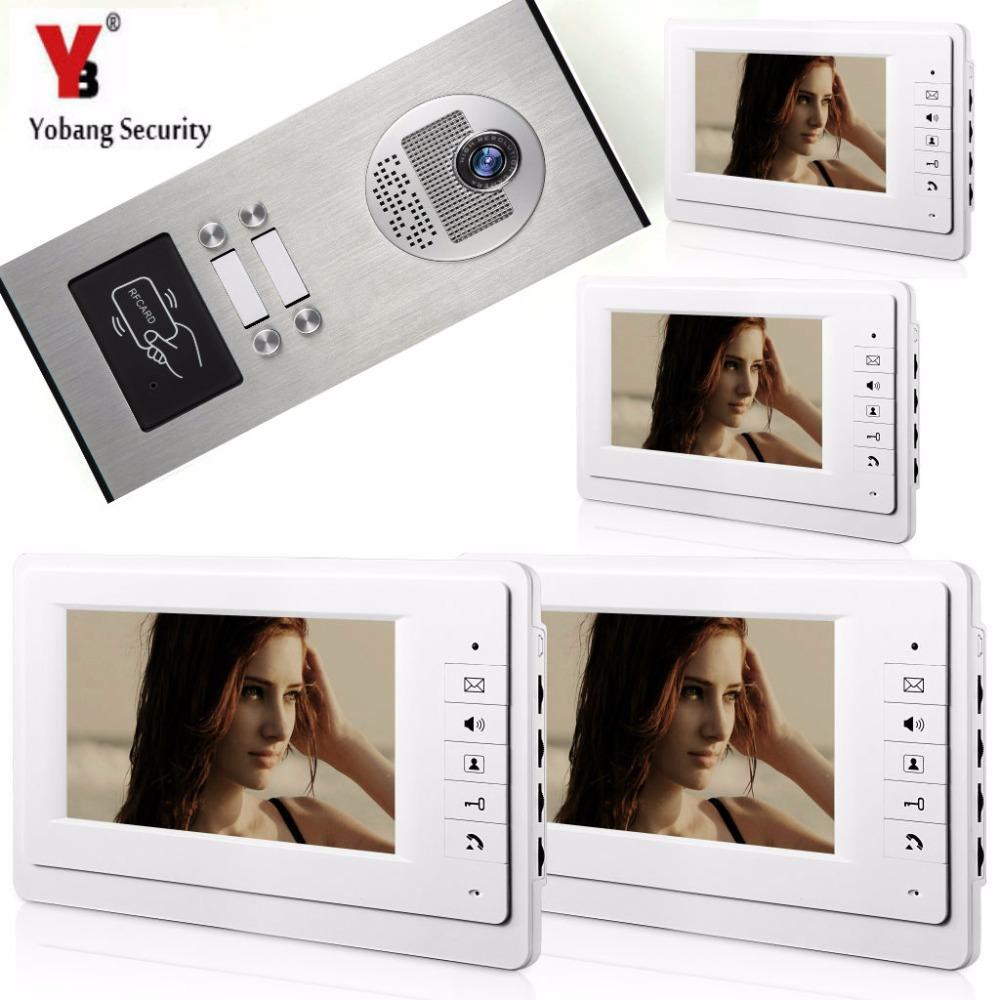 Yobang Security Villa Apartment Eye Door bell 7TFT LCD Color Video Door Phone Doorbell Intercom System 1 Camera 4 Monitor homefong villa wired night visual color video door phone doorbell intercom system 4 inch tft lcd monitor 800tvl camera handfree