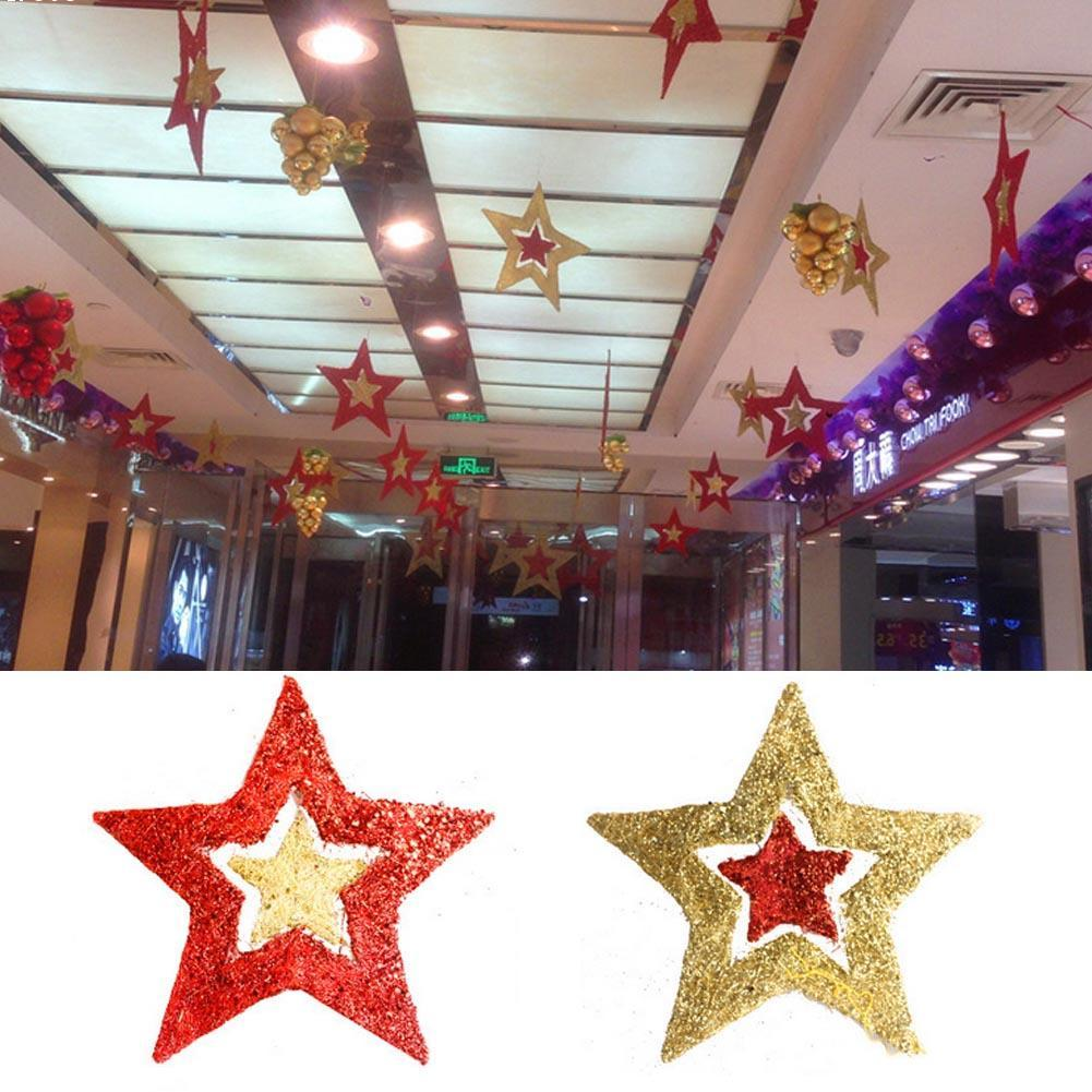 christmas five pointed star christmas tree bundle hangings christmas tree decoration christmas pendant supplies l: cheap christmas decor