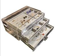 Jewelry cosmetic makeup storage organizer acrylic drawer box gemstone gems stand box