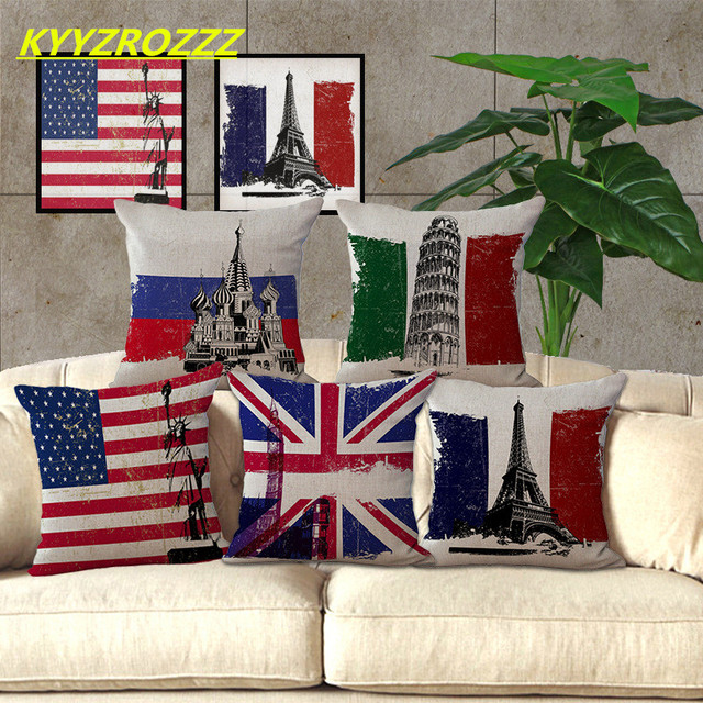 Homey Design Home Car Bed Sofa Italy Usa British Flag Decorative Clic Pillow Case Cushion Cover