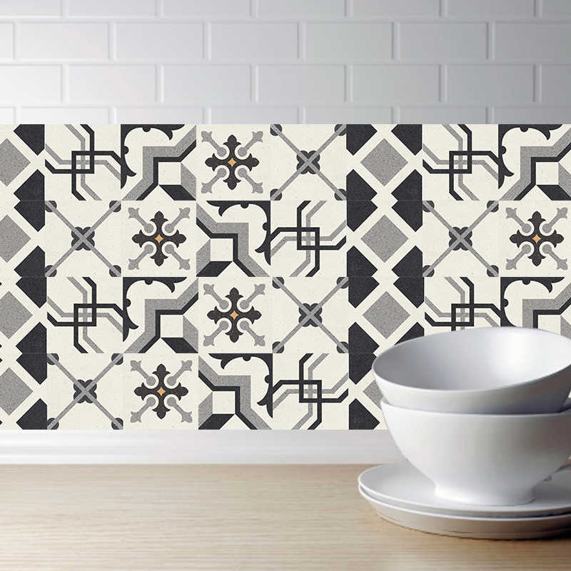 3D Black and white Retro Tile Floor Sticker 20*100cm PVC Bathroom Kitchen Waterproof Wall Sticker Home Decor TV Sofa Wall