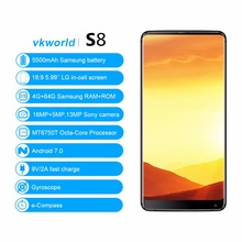 Vkworld S8 5.99″ FHD+ 18:9 in-cell Mobile Phone Android 7.0 MTK6750T Octa Core 4GB RAM 64GB ROM 16MP Dual camera 4G Smartphone