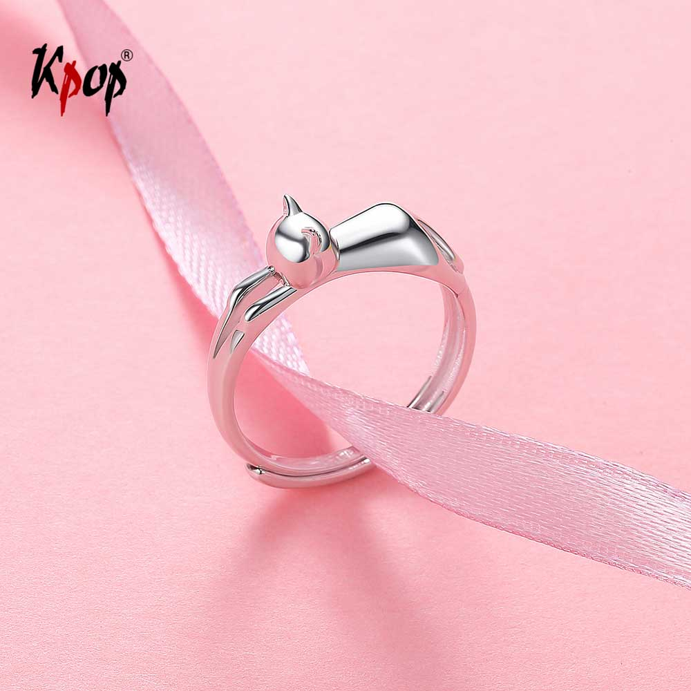 Kpop 925 Sterling Silver Cat Kitty Ring Enagement Wedding Jewelry Adjustable Dainty Cute Kitten Cat Band Ring R6009 ювелирные серьги sokolov серьги