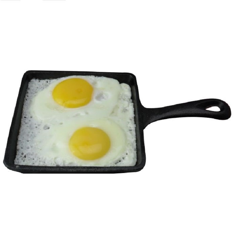 High quality 14CM Flat bottom real cast iron fried eggs new fashioned manual no coating pan square frying eggs