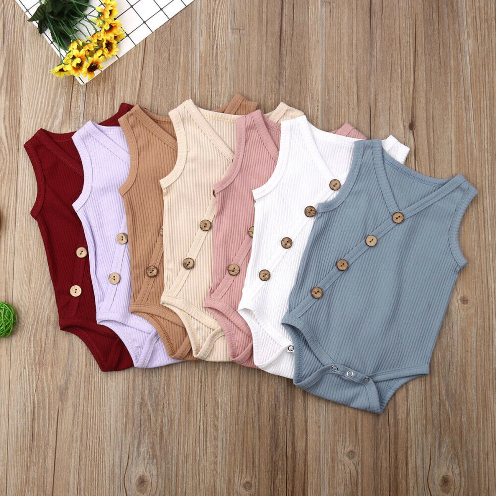 New Summer Newborn Toddler Boy Girl Solid Jumpsuit Cotton Bodysuit Outfit Casual Sleeveless Bby Clothes