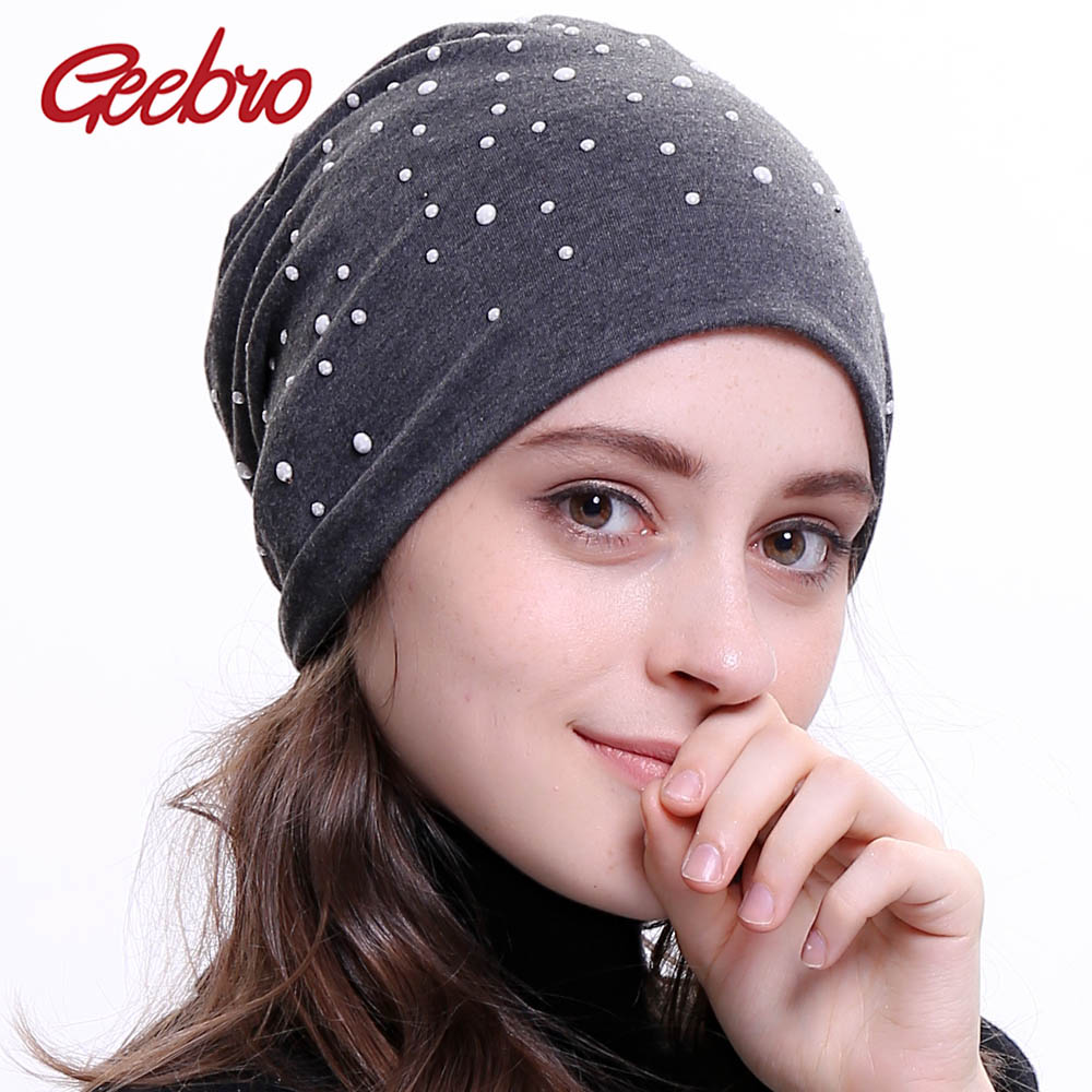 Geebro Brand Women's   Beanie   Hat Autumn Casual White Pearl Dot Slouchy   Beanie   for Women Female Polyester Plain   Skullies     Beanies