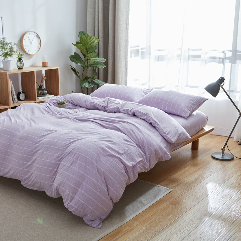 Aliexpress.com : Buy 100% Egypt Cotton Knitted Oriental Bedding Set King  Queen Size MUJI Bed Set Stripe Duvet Cover Bedsheet Fitted Cover  Pillowcases From ...