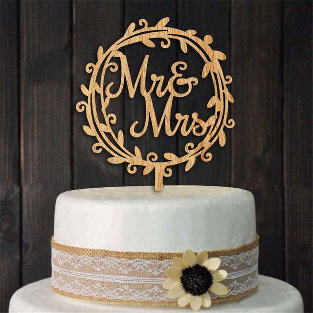 Wreath Mr Mrs Wedding Cake Topper Wood Stand Top Decoration Supplies