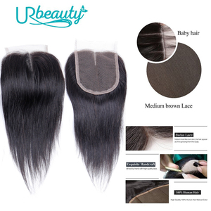 Image 4 - Human Hair Bundles with Closure Straight Brazilian Hair 4 Bundles with Middle Part Closure 100% Remy Human Weaving for Wig 8""