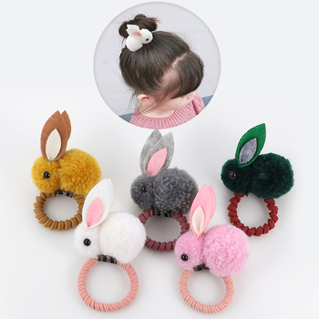 Cute animal hair ball rabbit hair ring rubber elastic bands Korean children hair Accessories