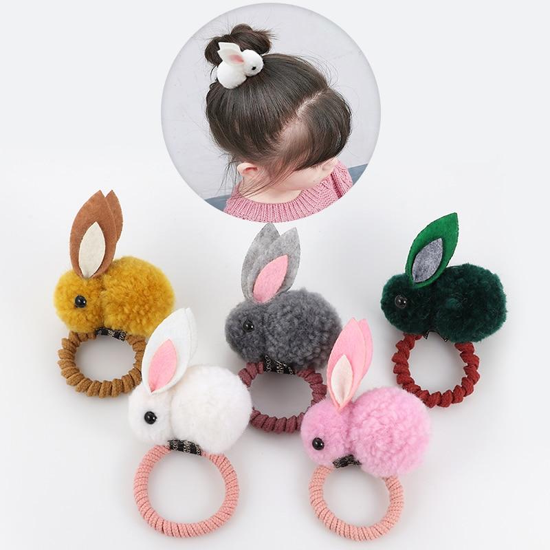 Cute Animal Hair Ball Rabbit Hair Ring Female Rubber Band Elastic Hair Bands Korean Headwear Children Hair Accessories Ornaments