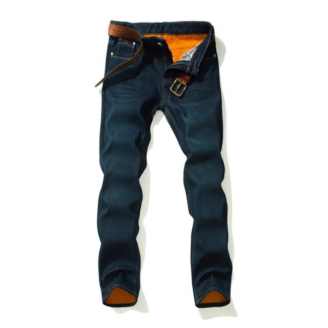 2018 CHOLYL Толстые мужские зимние Стрейчевые джинсы теплые флисовые мужские классические джинсы качество мужские синие джинсовые брюки размер 28-40