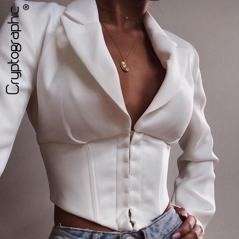 Cryptographic Women White Blazer And Jackets Elegant Long Sleeve Notched Short Office Single Breasted Ladies Blazer Streetwear