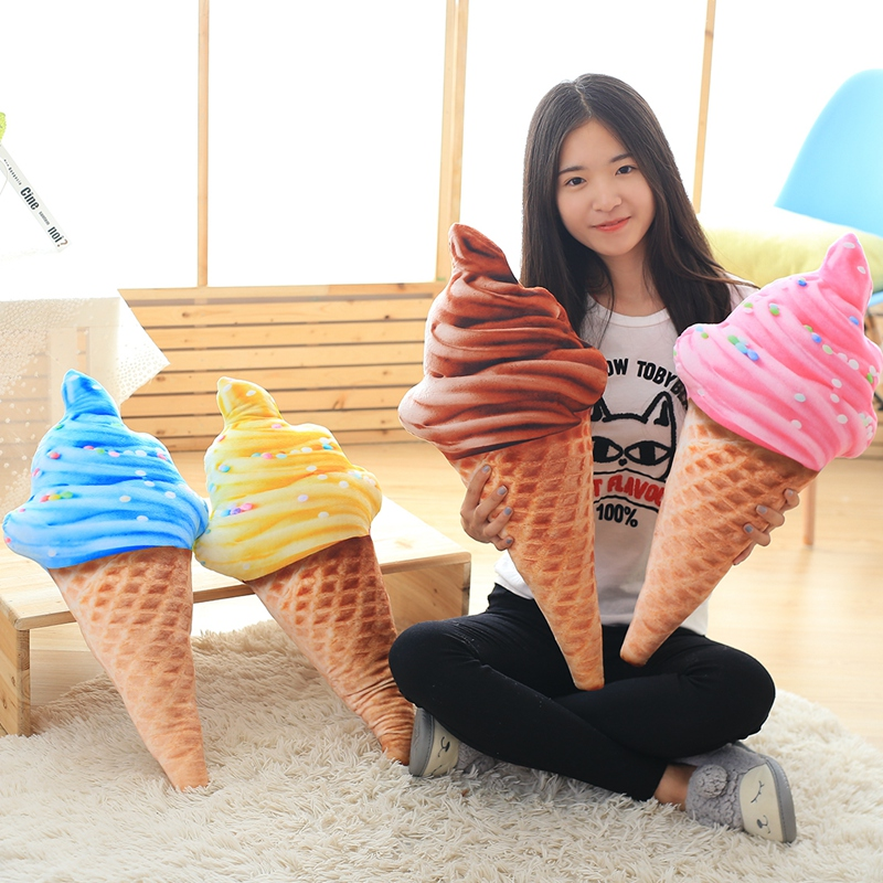 1pcs 30cm Summer Style 3D Delicious Icecream Cushion Stuffed Decorative mini ice cream Pillows Home Decoration