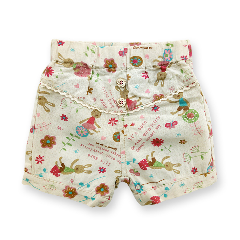 Summer Baby Girls Short Pants Casual Girl Pants Children's Clothing Elastic Waist Kids Shorts Cartoon Printed Girls Clothes 2-6Y girls pocket side elastic waist pants