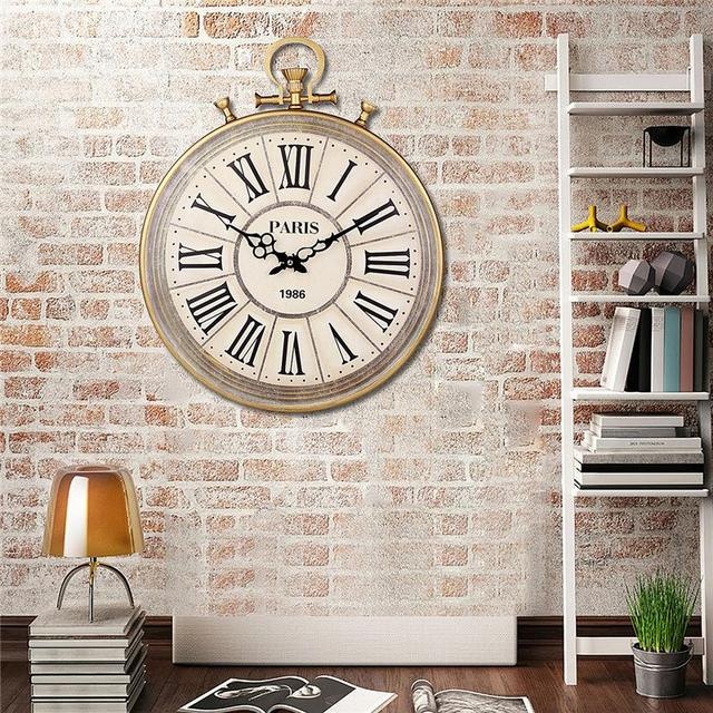 Charminer Absolutely Mute Quartz Wall Clock Retro Roman Numerals Large Living Room  Black Ornate Clock Hand Wall Decorations Hot