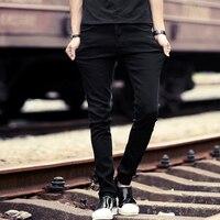 Slim Denim Jeans Degli Uomini Del Progettista Black Stretch Matita Pantaloni Casuali Molla Maschio Elastico Fit Affari Pantaloni Pantaloni Vaqueros Hombre