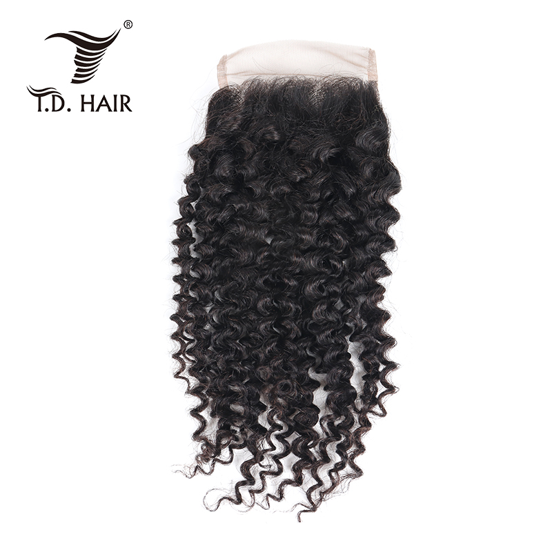Pre Plucked Lace Closure Kinky Curly Brazilian Human Hair 4*4 Closure With Baby Hair In 2019 New Products
