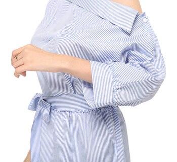 Summer Women Dress Blue Striped Shirt Short Dress Mini Sexy Side Split Half Sleeve Beach Dresses Plus Size Shirt Dress 3XL 1