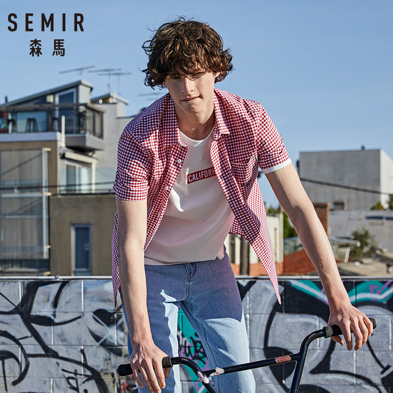SEMIR 2019 Summer New Short-sleeve Shirt Male Korean Version Cotton Retro Check Student Japanese Shirt Tide