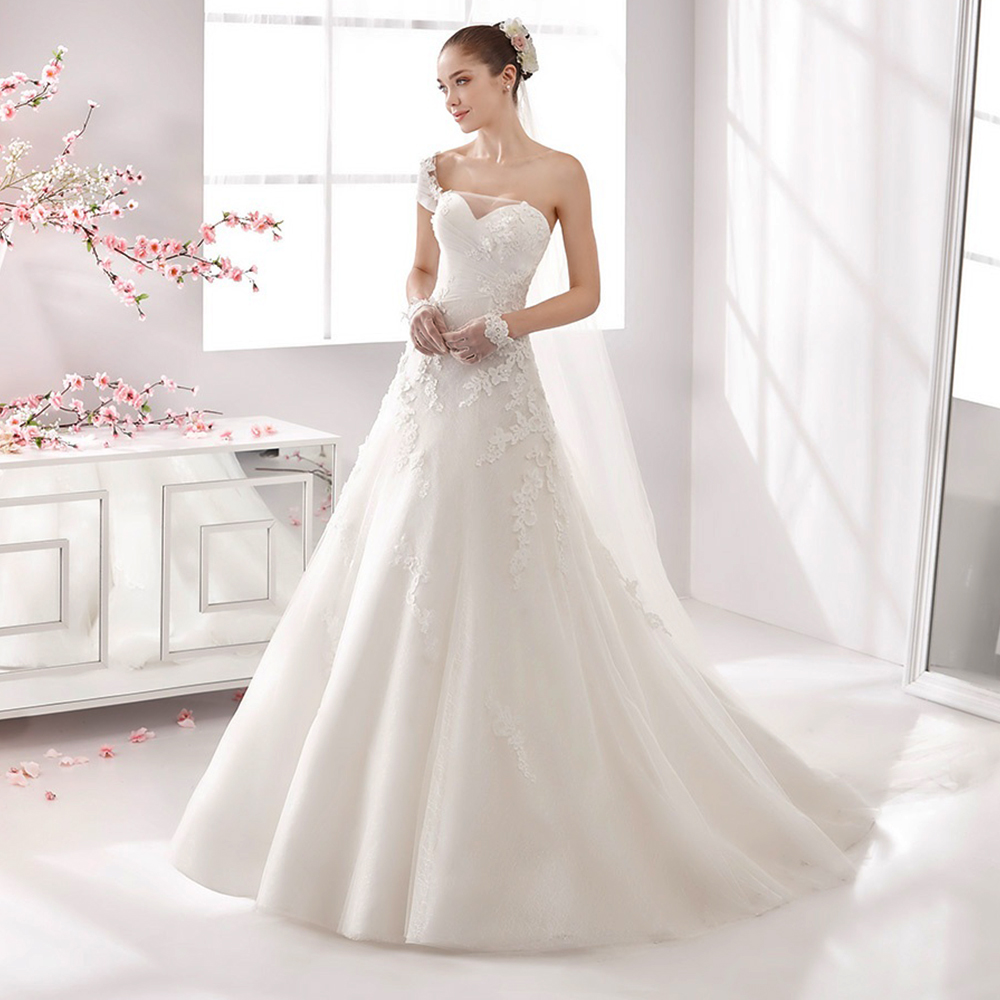 New Hot Sale A Line Wedding Bridal Gowns Sweetheart One Shoulder ...