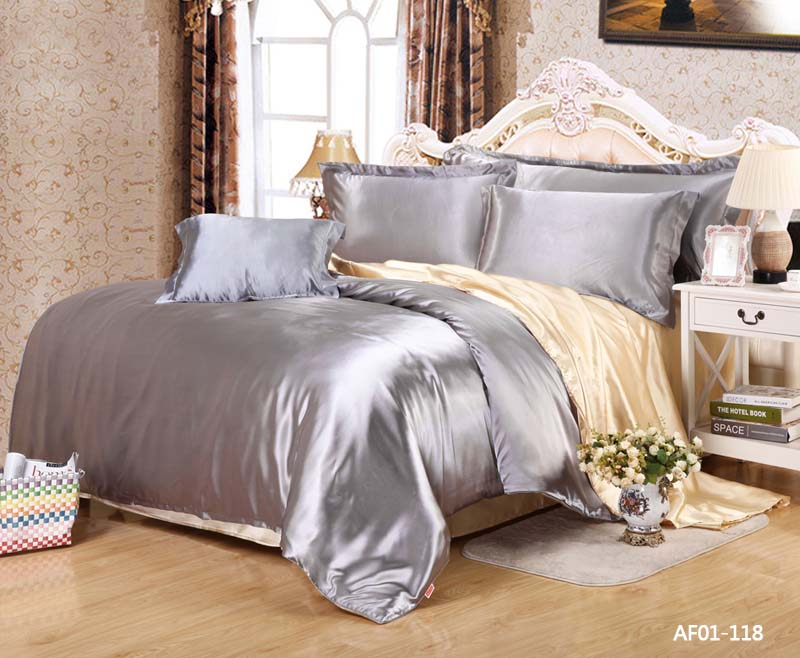 2016 New Bedding Set Silk Like Solid Shiny Silver Single