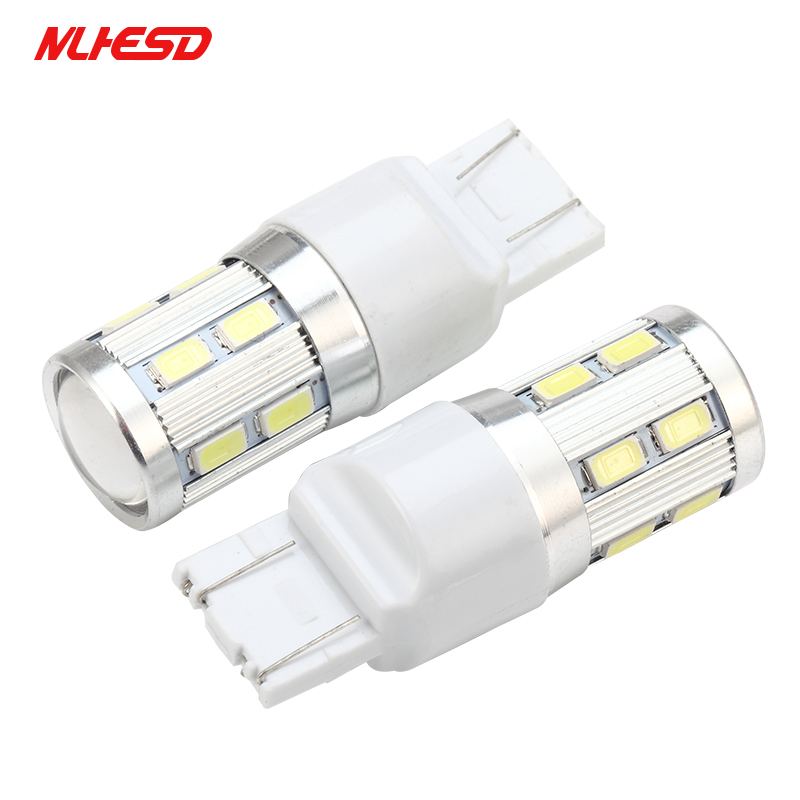 10PCS T20 <font><b>W21</b></font> <font><b>5W</b></font> 7443 LED White Cree Chip 12SMD 5730 Auto Brake Lights Reversing Lamp Bulb Car 7440 W21W Led Bulbs DRL 12V image