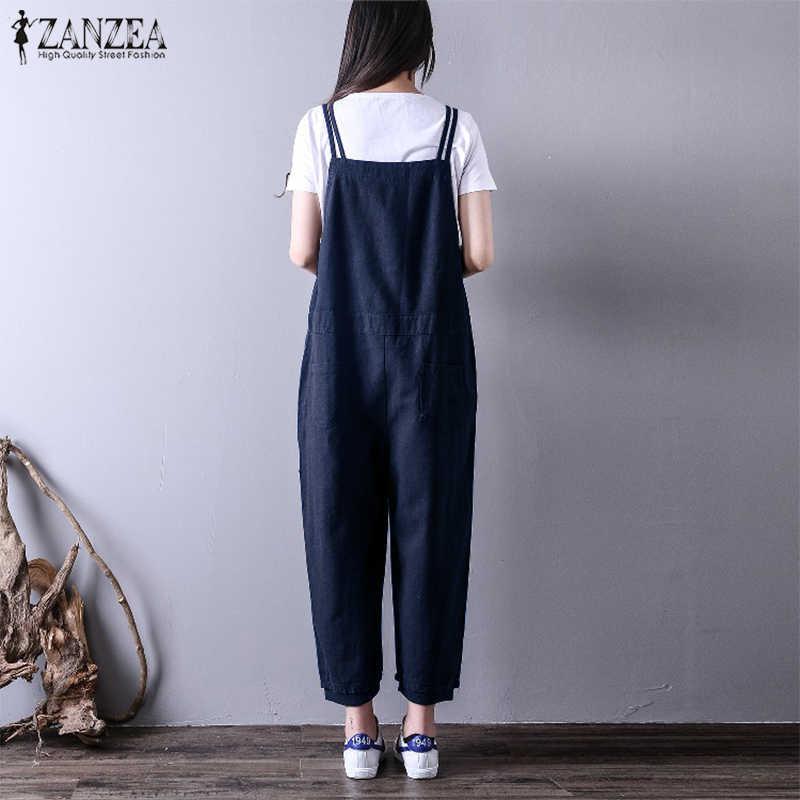 d93d7475a0f ... Oversized Women Jumpsuits 2018 ZANZEA Summer Linen Long Pants  Sleeveless Strap Overall Harem Pant Pantalon Rompers ...