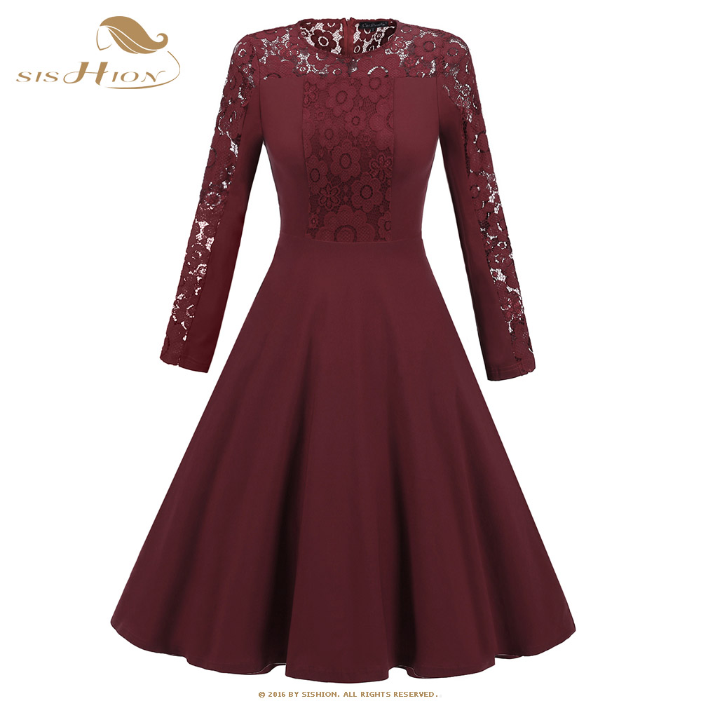 SISHION Swing Retro Vintage Dress VD0668 Long Sleeve Sexy Lace Black Wine Red Navy Blue A line Floral Party Winter Dress