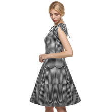 ACEVOG Women summer casual dresses 2017 sexy vestidos 1950s Retro Vintage Style Short Sleeve Plaid and Dot Swing Midi Dress