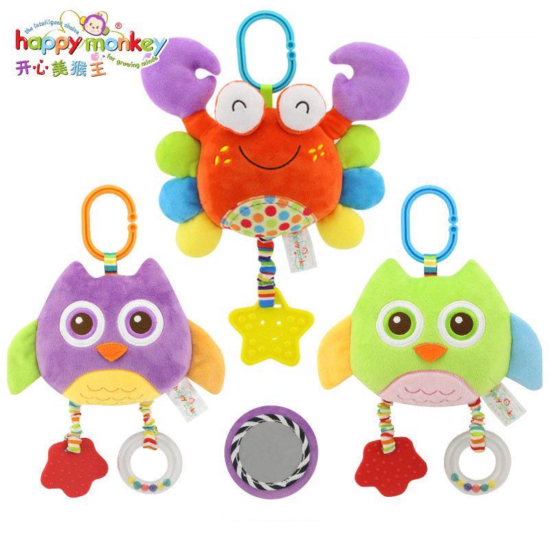 Happy Monkey Plush Stuffed Stroller Crib Accessories Soft Bed Hanging Baby Toys for Children Teether Safety Game Rattle Decor